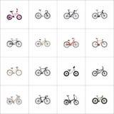 Marca realistica, azionamento del ciclo-cross, elementi pieganti di vettore del Sport-ciclo L'insieme dei simboli realistici dell fotografia stock