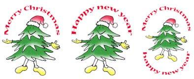 Marca sonriente de tres árboles de navidad imagenes de archivo