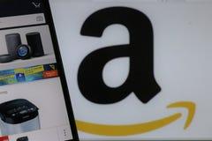 Marca y logotipo del Amazonas imagenes de archivo