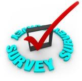 Marca y rectángulo de verificación de la encuesta