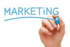 Marcador azul de comercialización Imagen de archivo