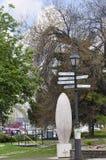 Marcador da distância em Budapest Hungria Fotografia de Stock Royalty Free