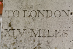 Marcador da distância a Londres Foto de Stock Royalty Free