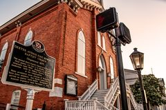 Marcador de Dexter Avenue Baptist Church Historic fotos de stock royalty free