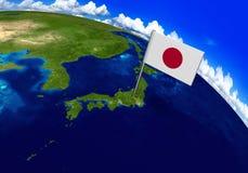 Marcador de la bandera sobre el país de Japón en la representación del mapa 3D del globo Foto de archivo libre de regalías