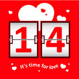 Marcador de la fecha del día de la tarjeta del día de San Valentín Imágenes de archivo libres de regalías