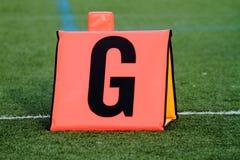 Marcador de la línea de meta del fútbol Fotos de archivo