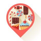 Marcador de la navegación con el caramelo colorido, dulces y ilustración del vector
