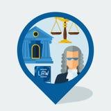 Marcador de la navegación con los iconos de la ley en diseño plano Fotografía de archivo