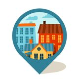 Marcador de la navegación del paisaje urbano con colorido lindo stock de ilustración
