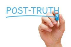 Marcador del azul de la Posts-verdad Fotografía de archivo