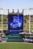 Marcador del estadio de Kauffman - Kansas City Royals Imagen de archivo libre de regalías