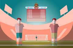 Marcador del partido de fútbol en un Playfield stock de ilustración