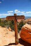 Marcador del rastro para Bryce Canyon Wilderness Area Foto de archivo libre de regalías
