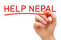 Marcador del rojo de Nepal de la ayuda Foto de archivo