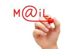 Marcador del rojo del concepto del correo Fotografía de archivo libre de regalías