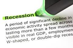 Marcador del verde de la definición de diccionario de la recesión fotos de archivo libres de regalías