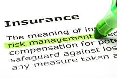 Marcador del verde de la definición de diccionario del seguro Imagen de archivo libre de regalías