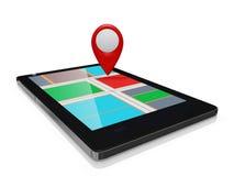 Marcador do mapa de GPS em um móbil esperto do telefone Fotos de Stock Royalty Free