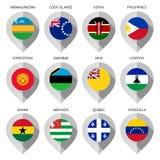 Marcador do papel com a bandeira para o mapa Imagens de Stock Royalty Free