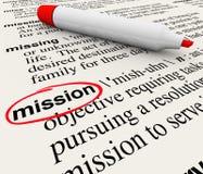 Marcador do vermelho da definição de dicionário da palavra da missão Imagens de Stock Royalty Free