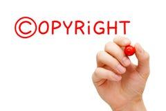 Marcador do vermelho do conceito de Copyright imagens de stock