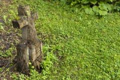 Marcador grave de madeira cinzelado Fotos de Stock Royalty Free