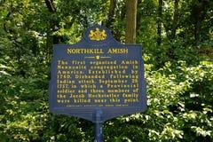 Marcador histórico de Northkill Amish fotografia de stock