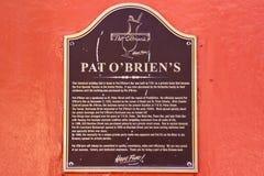 Marcador histórico de OBriens da pancadinha de Nova Orleães Foto de Stock
