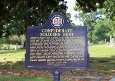 Marcador histórico del resto de los soldados confederados Imagen de archivo