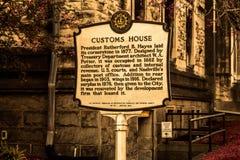 Marcador histórico Nashville de aduanas Imagen de archivo
