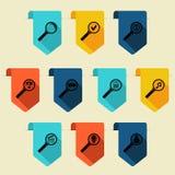 Marcador liso com o ícone da busca (vertical) Foto de Stock Royalty Free