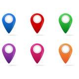 Marcador multicolor del mapa Imágenes de archivo libres de regalías