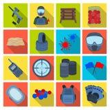 Marcador para o paintball, o equipamento, as bolas e os outros acessórios para o jogo Único ícone do Paintball no vetor liso do e ilustração do vetor