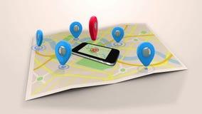 Marcador rojo que señala en una mentira móvil en un mapa rodeado por los marcadores azules