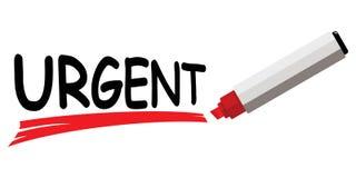 Marcador rojo que subraya la palabra urgente Fotos de archivo libres de regalías