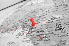 Marcador rojo sobre Congo fotos de archivo libres de regalías
