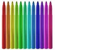 Marcadores coloridos alinhados Imagens de Stock Royalty Free