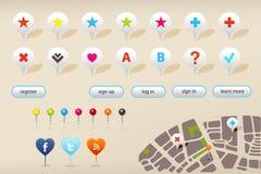 Marcadores da navegação do GPS e elementos do Web site Imagens de Stock