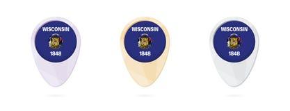 Marcadores del mapa con la bandera del estado de los E.E.U.U. Wisconsin, 3 versiones del color ilustración del vector