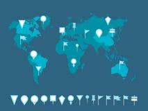 Marcadores do mapa Fotos de Stock Royalty Free