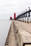 Marcadores náuticos el lago Michigan del asilo magnífico dual de los faros Imágenes de archivo libres de regalías