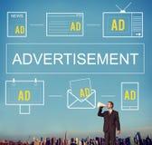 Marcagem com ferro quente comercial da propaganda do mercado do ADS da propaganda concentrada fotografia de stock