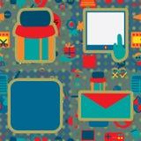 Marcagem com ferro quente sem emenda do teste padrão do ícone 2 sociais dos meios Foto de Stock
