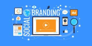Marcare a caldo del sociale - media sociali che commercializzano per le marche Insegna piana di vendita di progettazione illustrazione vettoriale