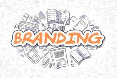 Marcare a caldo - iscrizione dell'arancia del fumetto Concetto di affari illustrazione vettoriale