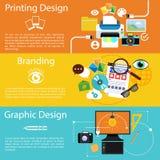 Marcare a caldo, progettazione grafica e stampare l'icona di progettazione Fotografia Stock Libera da Diritti