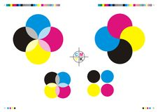 Marcas & logotipos da impressão de CMYK Fotografia de Stock Royalty Free