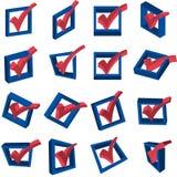 marcas de cotejo de votación 3D Imagen de archivo libre de regalías