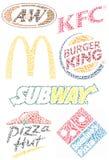 Marcas de fábrica famosas de los alimentos de preparación rápida Imagen de archivo